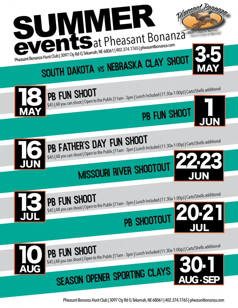 Summer Events Flyer Pheasant Bonanza